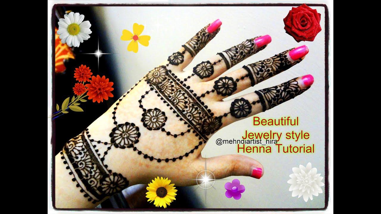 Beautiful Mehndi Design Tutorial : Easy simple beautiful henna jewellery inspired mehndi