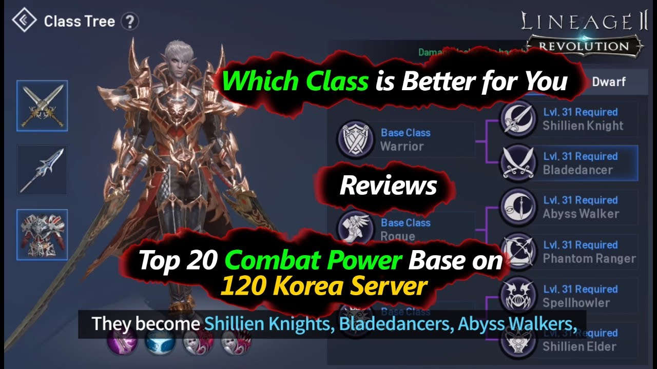 Lineage 2 Revolution Top 20 Combat Power Class from 120 Korea Server