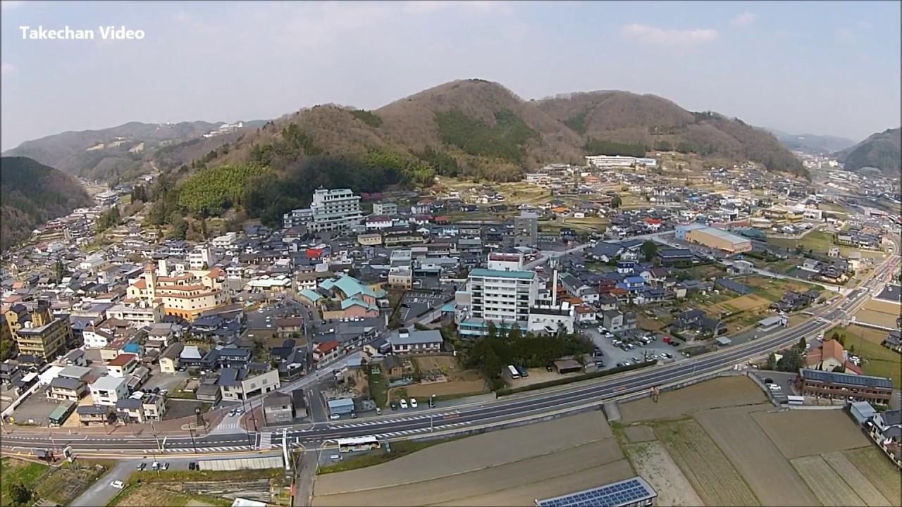 【空から見る岡山県】美作市湯郷温泉街 - YouTube