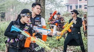 LTT Game Nerf War : Couple Warriors SEAL X Nerf Guns Fight Criminal Group Black Man Rescue Agent