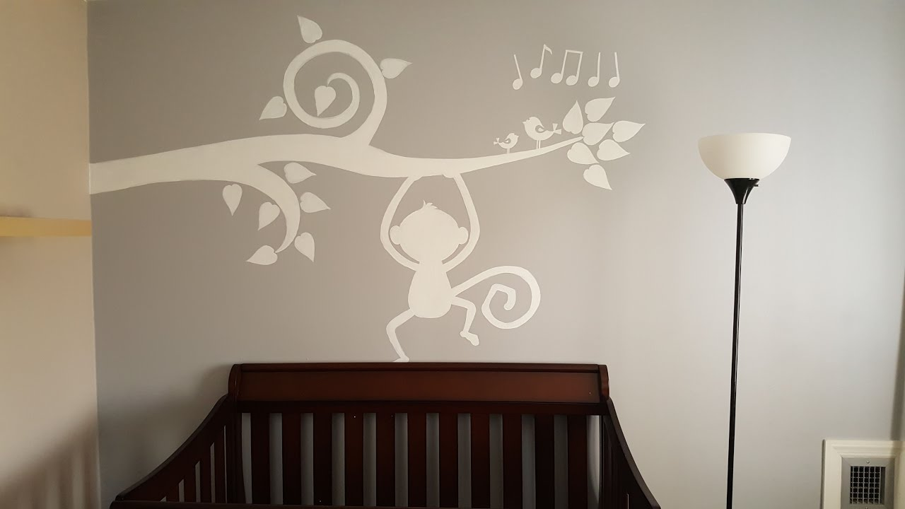 Baby room wall painting timelapse tree branch and monkey youtube amipublicfo Gallery
