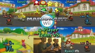 Mario Kart Wii - Troy & Ryan vs Justin & Matt - 4 Player Team VS w/ Facecam!