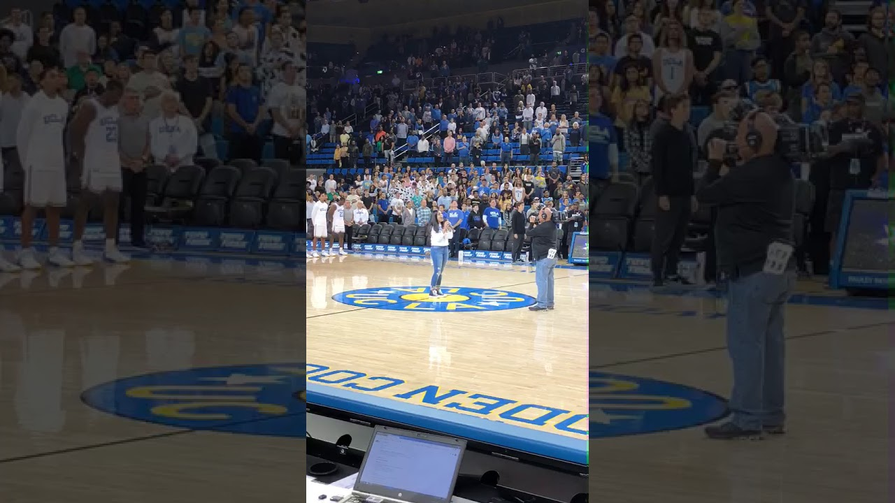 Singing the National Anthem at a UCLA Basketball game| Lauren Ahaddian