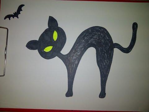 Schwarze Katze mit Fledermaus für Halloween zeichnen. (Für Anfänger)