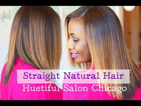 Straight Natural Hair at Huetiful Salon Chicago