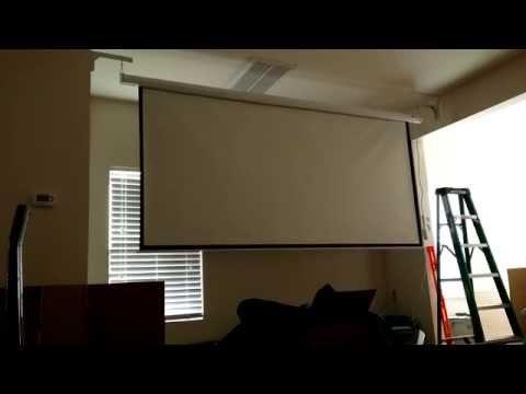 """Homegear 120"""" HD Motorized 16:9 Projector Screen W/ Remote Control"""