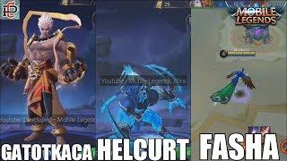 Mobile Legends - GATOTKACA / HELCURT / FASHA - NOVAS SKINS!!