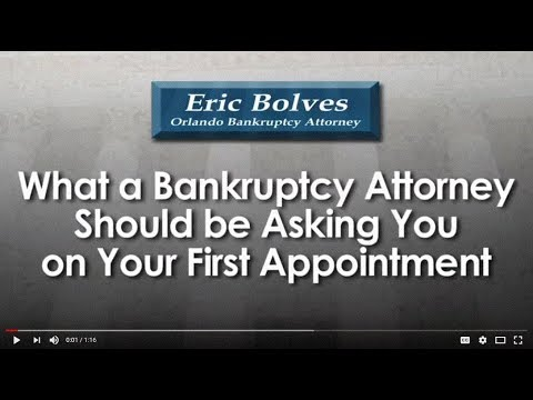 What Should a Bankruptcy Attorney Ask You At Your First Meeting? Orlando Bankruptcy Attorney Eric Bolves discusses what should happen at a first consultation regarding bankruptcy. It is important for an attorney to spend enough time to find out what are the facts of the case and answer all questions about bankruptcy. For more information about bankruptcy and the law in Florida, visit my educational website at http://www.thelegalcenter.com. If you have questions, I want you to give me a call at (407) 894-1002. I welcome your call.  Eric Bolves Orlando Bankruptcy Attorney 2110 East Robinson St. Orlando, FL 32803 (407) 894-1002