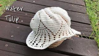 Crochet summer hat - Lace cott…