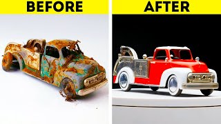 RESTORATION OF VINTAGE TOY CAR || 18 CRAZY WAYS TO TRANSFORM ANYTHING