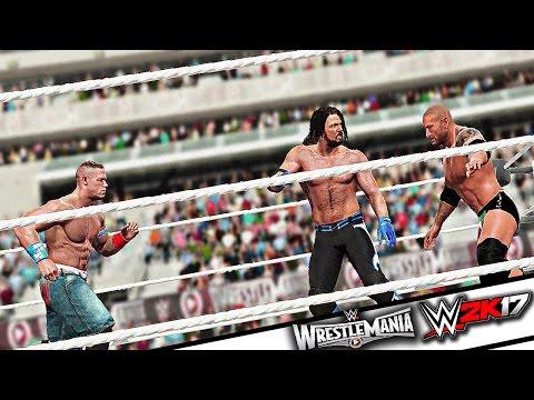WWE 2K17 - AJ Styles vs Batista vs John Cena Triple Threat Full Match Gameplay (PS4/XBOX ONE) WM 31