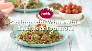 Shrimp with White Wine, Lentils & Tomatoes