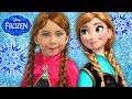 FROZEN Anna Kids Makeup Alisa Play with GIANT DOLL & Became a Disney Princes with Colours Paints