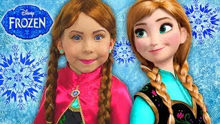 Video FROZEN Anna Kids Makeup Alisa Play with GIANT DOLL & Became a Disney Princes with Colours Paints download MP3, 3GP, MP4, WEBM, AVI, FLV April 2018