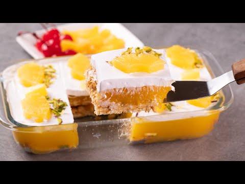 pineapple-pudding-slice-dessert-|-no-bake-biscuit-cake-recipe-|-eggless-dessert-|-n'oven