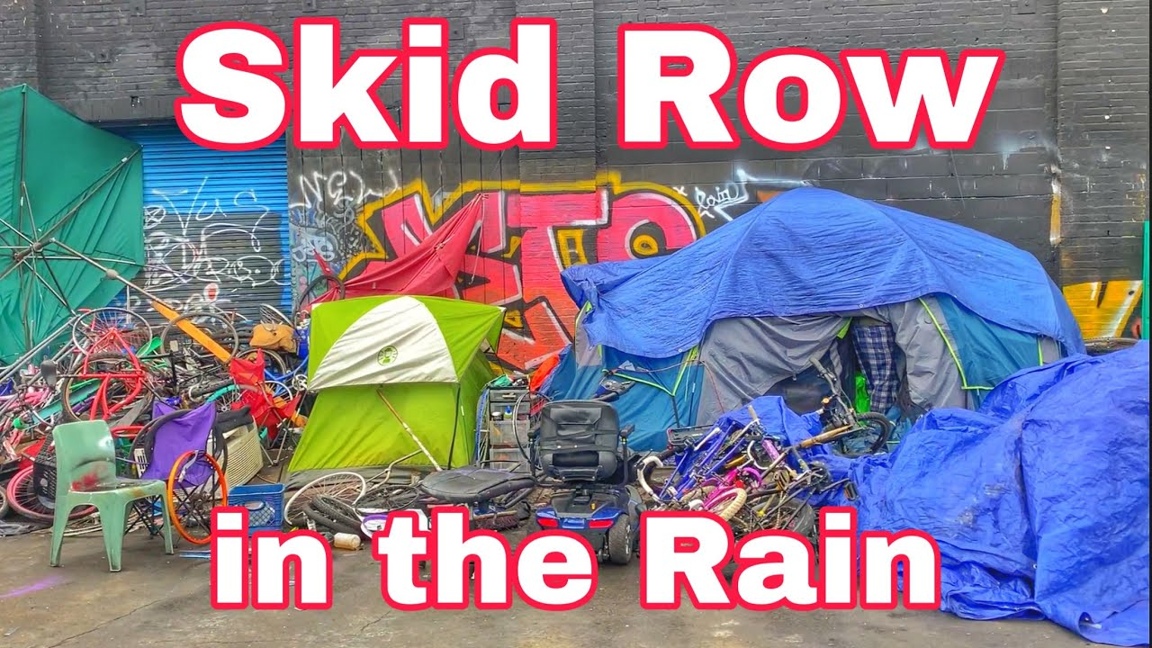 Skid Row homeless encampment in downtown Los Angeles in the rain