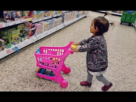 Baby Doing Grocery Shopping -- Toy Shopping Cart