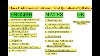 Class 1& 2 Entrance Exam Questions,Topics and how to Prepare your child || Admission Test questions