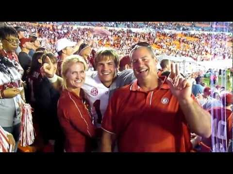 Alabama Safety Levi Cook celebrating with parents Gil and Jill at BCS Alabama-ND game.MOV
