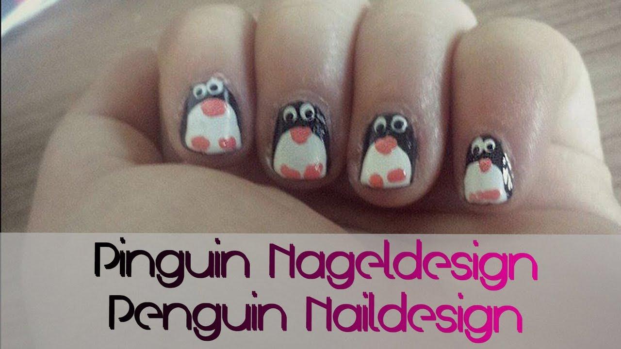 einfaches nageldesign f r kurze n gel und f r anf nger pinguin nageldesign youtube. Black Bedroom Furniture Sets. Home Design Ideas