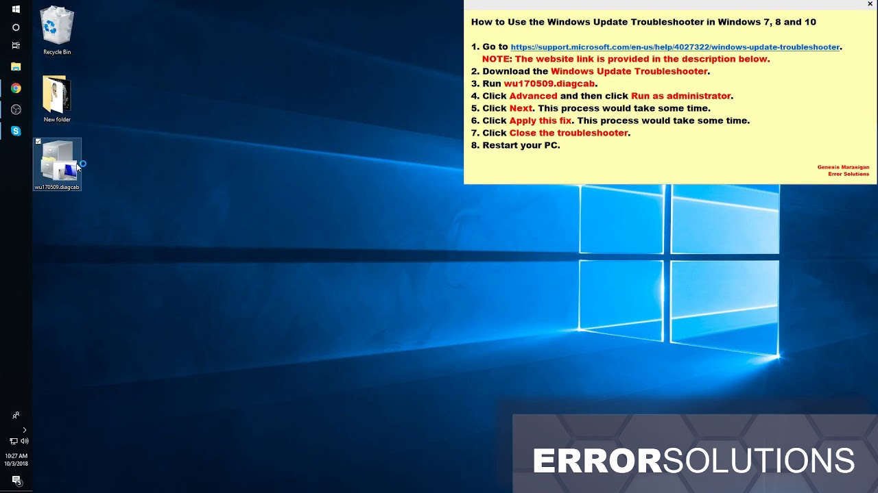 Tool to fix Windows Update Error - How to Use the Windows Update  Troubleshooter in Win 7, 8 and 10