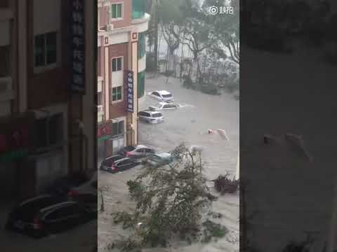 Cars Float in Floodwater as Typhoon Hits Guangdong