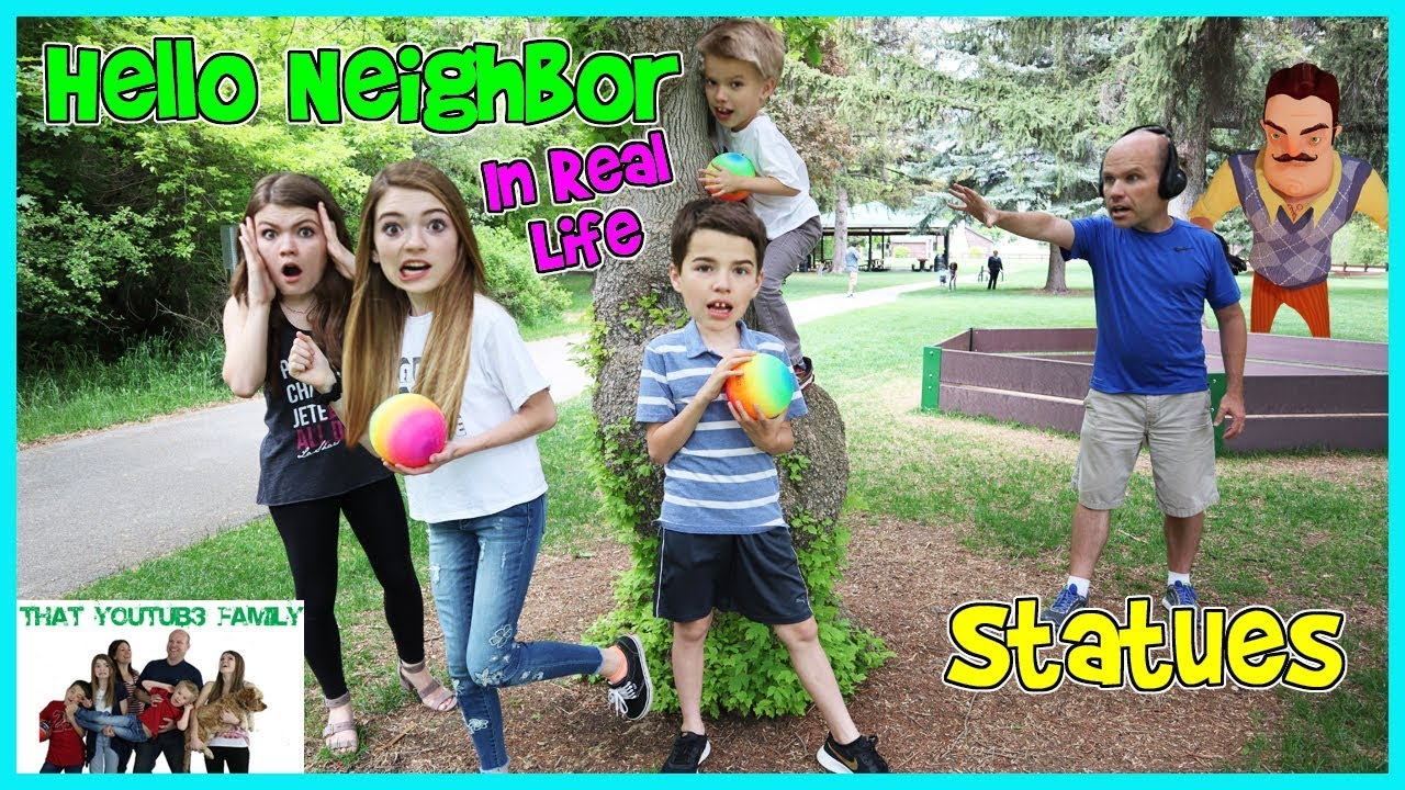 Hello Neighbor Real Life Statues In The Park / That YouTub3 Family - YouTube