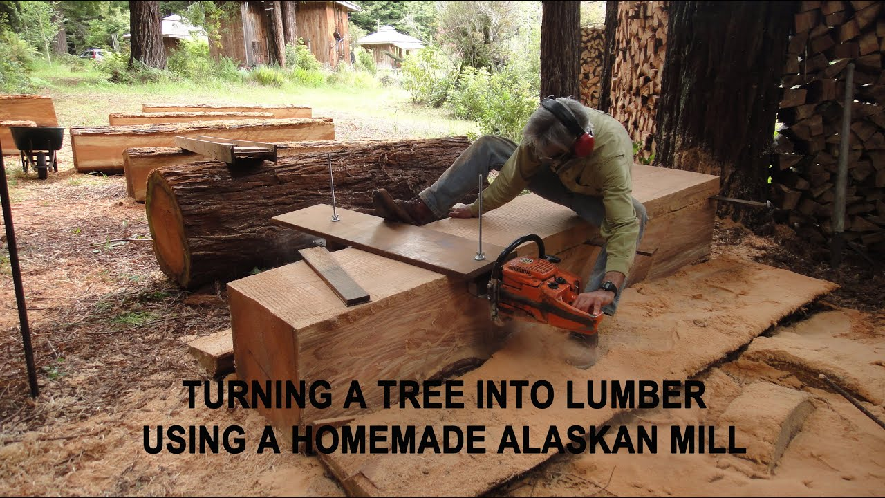 Turning a tree into lumber using a homemade alaskan mill for What to make with tree logs