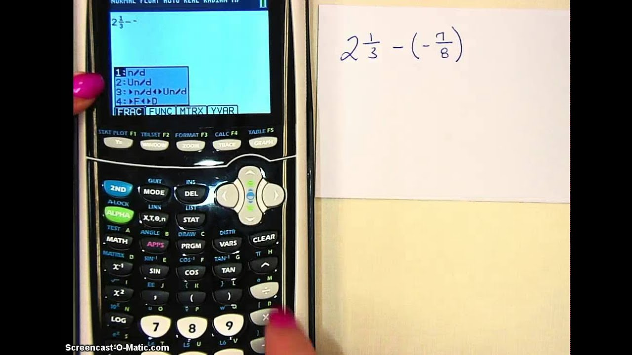 Add or subtract mixed numbers with a calculator youtube.