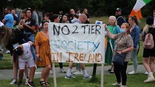 Hundreds gather to protest outside Áras an Uachtaráin in Dublin's Phoenix Park