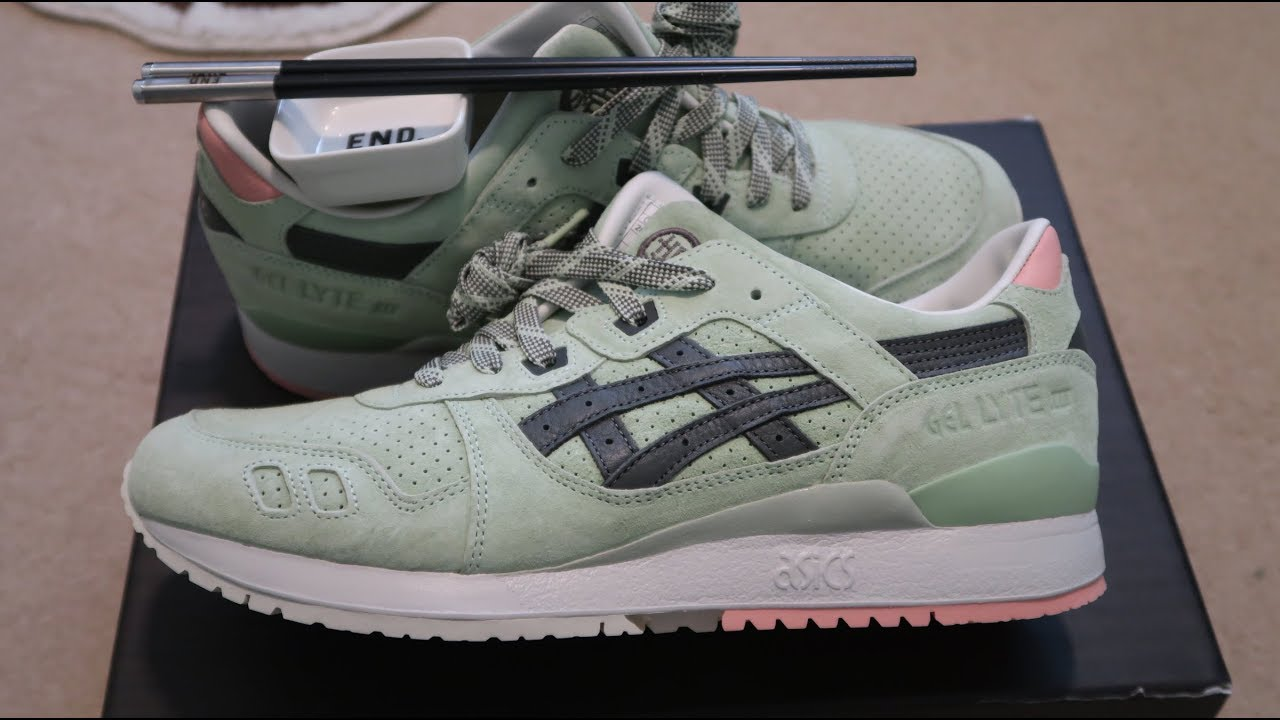 c9f448fec16 End x Asics Gel Lyte 3 'Wasabi' Special Box Sneaker Unboxing