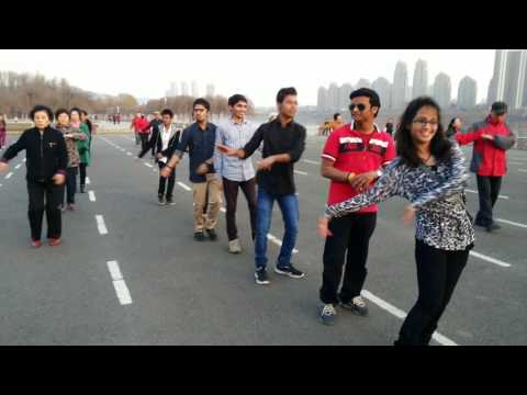 fun exerance(exercise+dance)...with chinese people in jilin city