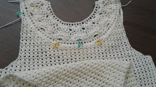 Пуловер крючком с круглой кокеткой. Часть 9. Горловина спинки.