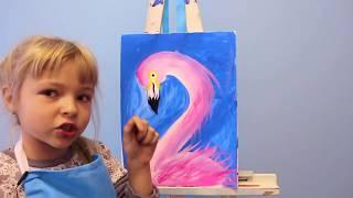 Дети учат рисовать. Уроки рисования для детей. Как нарисовать Фламинго.