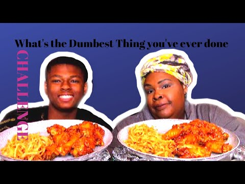BACON BBQ CHICKEN WINGS MUKBANG | What's the dumbest thing you've ever done? Challenge