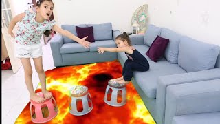 سوار تنقذ اختها من الحمم البركانية | تنقذ توأمتها من الحمم البركانية !! the floor is lava