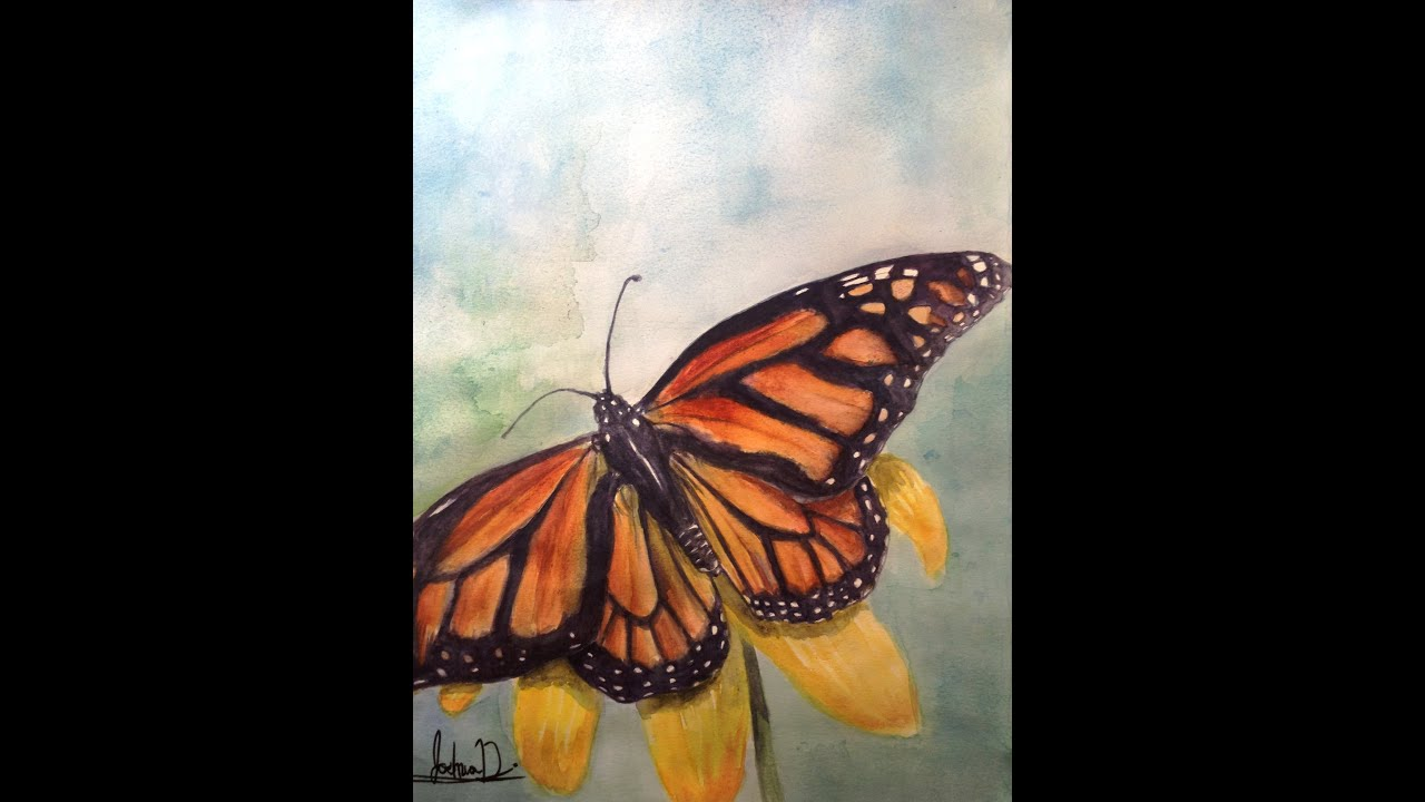 Realistic Watercolor Painting Of A Monarch Butterfly