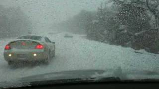 audi a8 going up hill in the snow the carnage