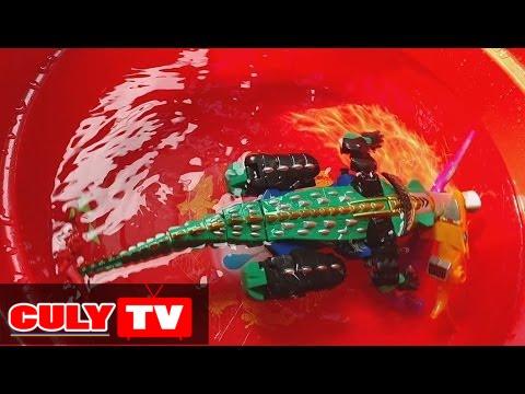 siêu nhân Robot biến hình Gao cá sấu siêu thú đi tắm hồ bơi gặp cá mập – gao hunter swimming toy kid