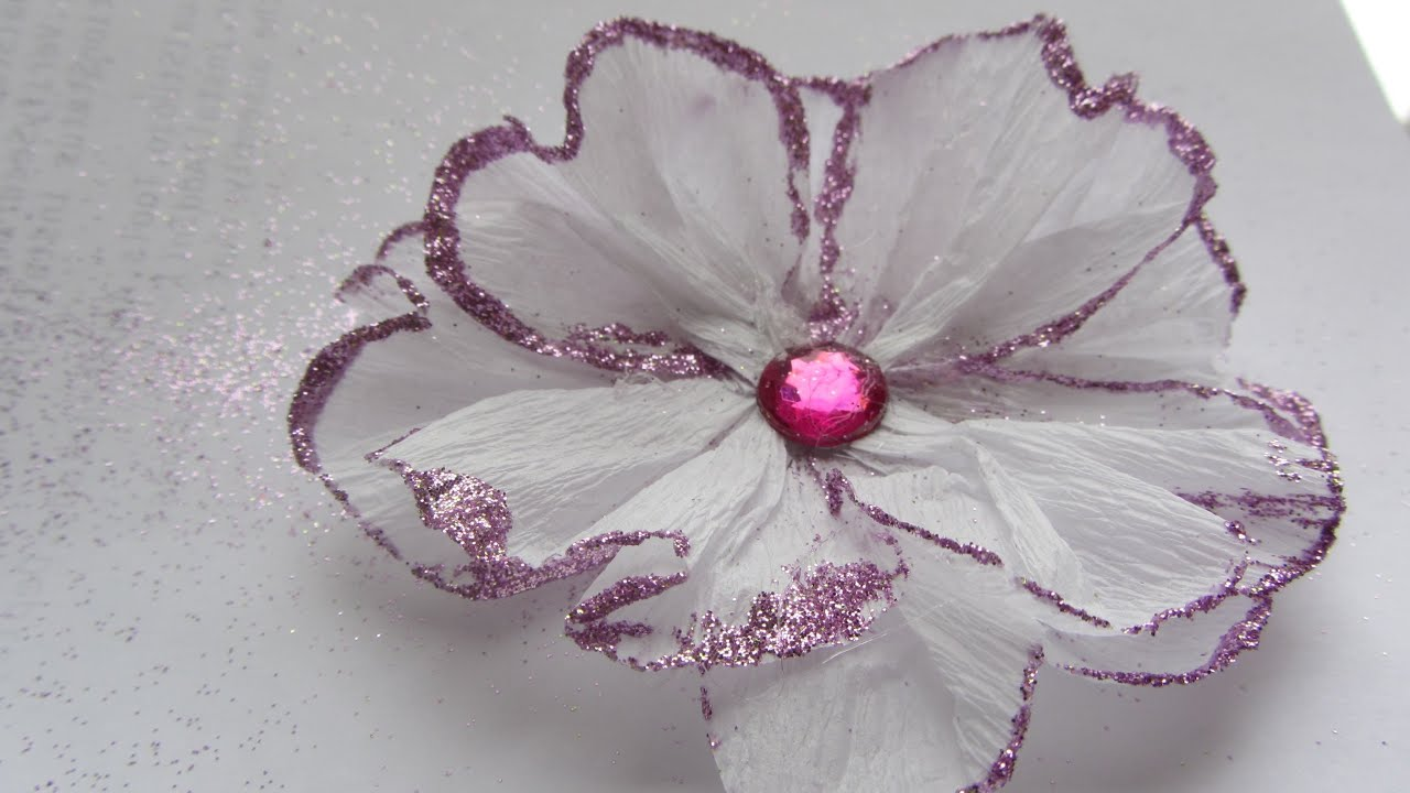 Crepe Paper Flowers With Glitter Are Fun To Make Easy