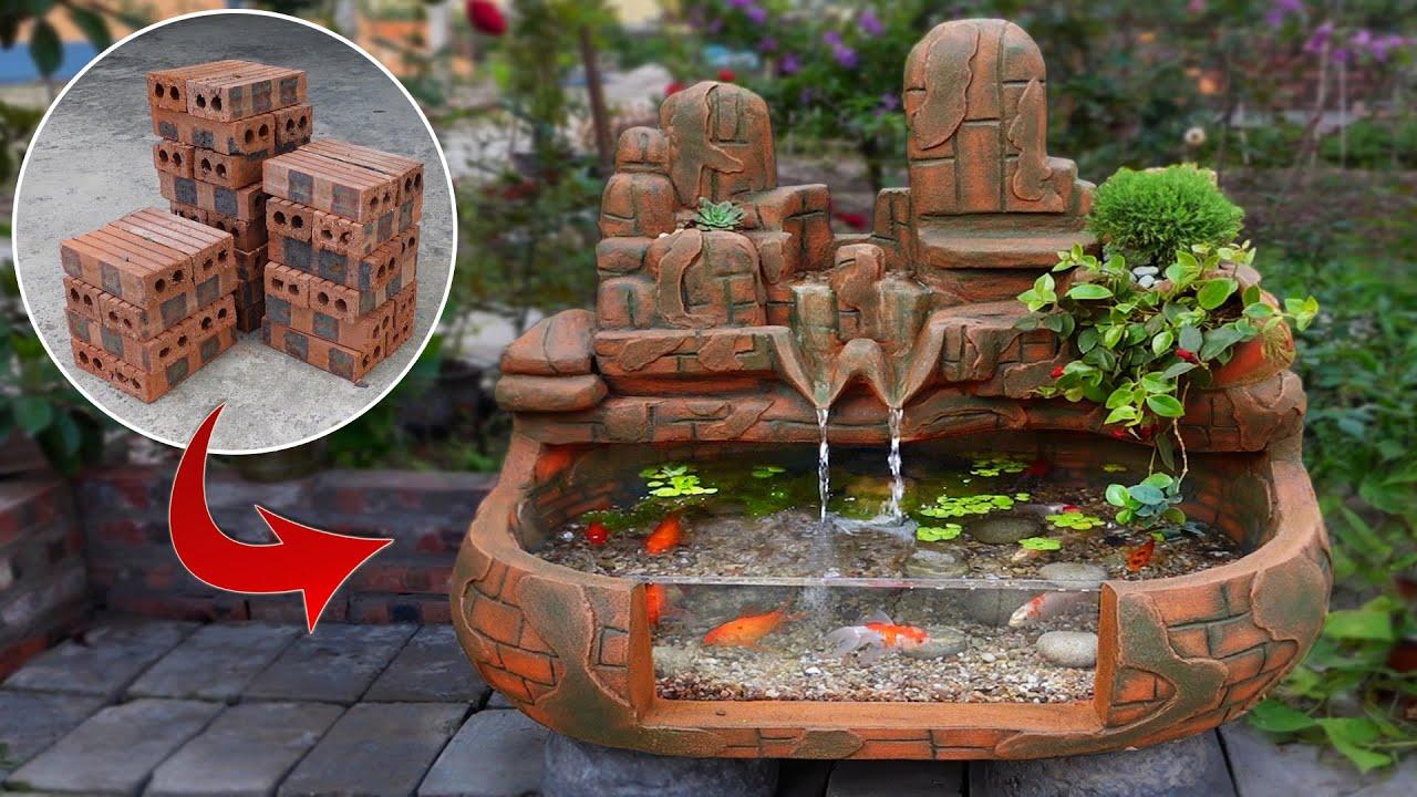Creative Ideas from Brick and Cement - DIY Beautiful Waterfall Aquarium
