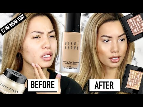 BRAND NEW | BOBBI BROWN SKIN LONGWEAR FULL COVER FOUNDATION & HIGHLIGHTERS | 12 HR WEAR TEST REVIEW
