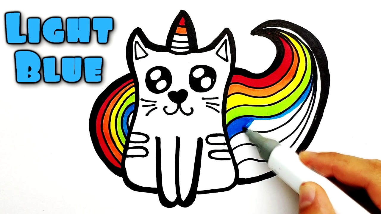 How to draw Rainbow Cat Unicorn | Coloring and drawing for ...