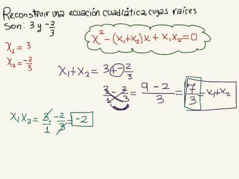 Reconstruir una ecuación Cuadrática cuyas raíces son 3 y -2/3