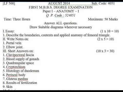 August 2014 Anatomy Paper 1 Mbbs First Year Question Paper
