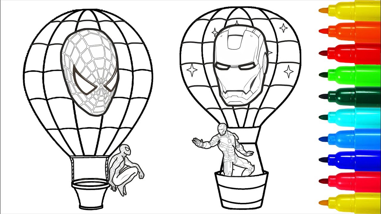 Spiderman And Iron Man Hot Air Balloons Coloring Pages Coloring Pages With Colored Markers Youtube