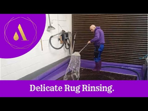 Rinsing delicate rugs Rug cleaners Cheshire, Arcadia rug spa
