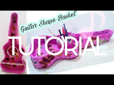 How to make Guitar Shape Newspaper Basket || Newspaper Weaving Basket