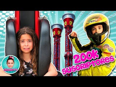 🏎 Celebramos los 200K SUSCRIPTORES en FERRARI LAND!! 😱 Me TIRO por una TORRE de 55 METROS!! 🎢
