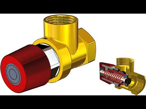 SolidWorks Tutorial #313 : Relief valve PRV  (movable spring, screw, distance mate)